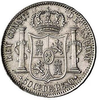 50 centavos de peso de Filipinas 1885/3