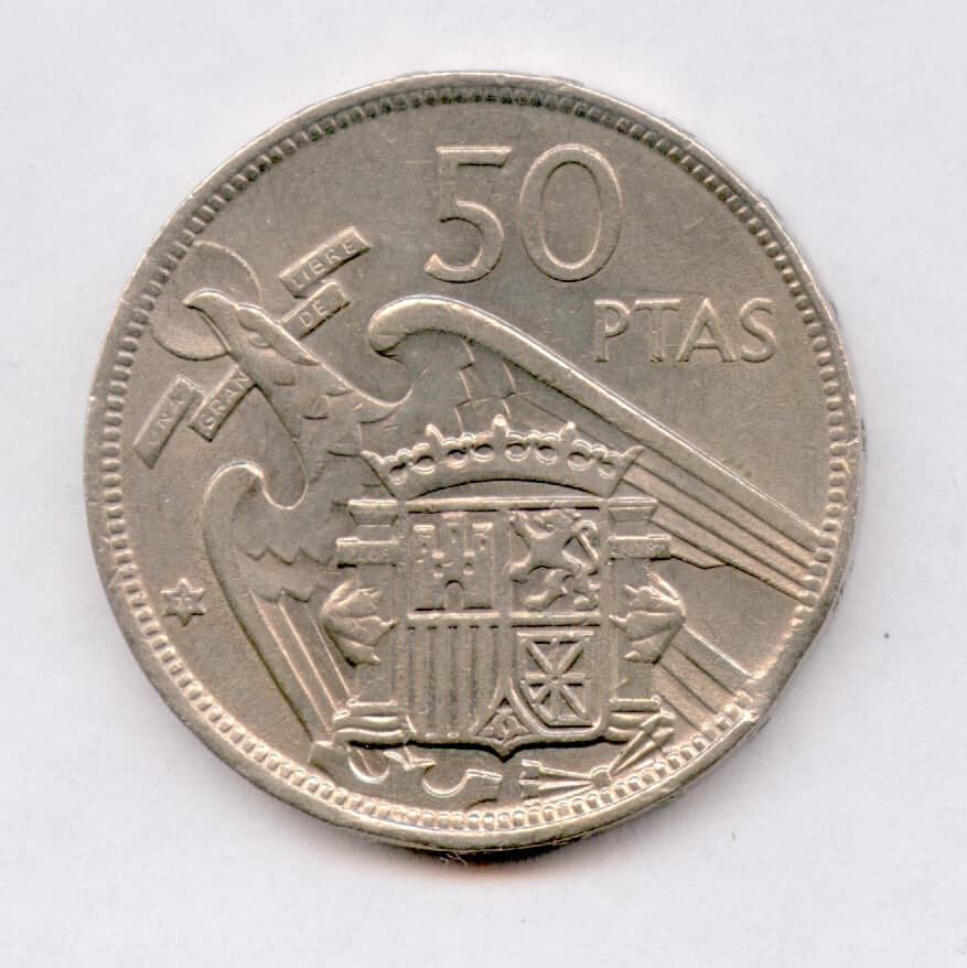 50 pesetas final de riel