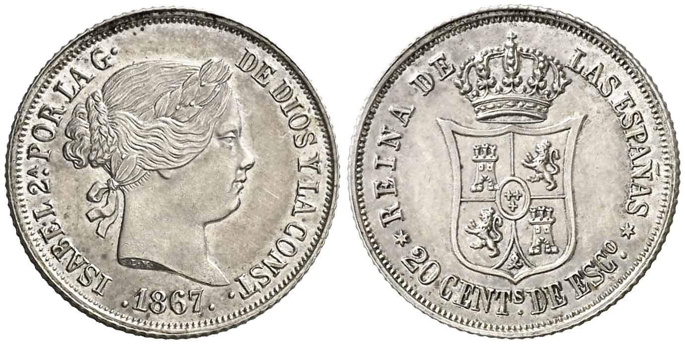 20 centavos de peso Madrid 1867