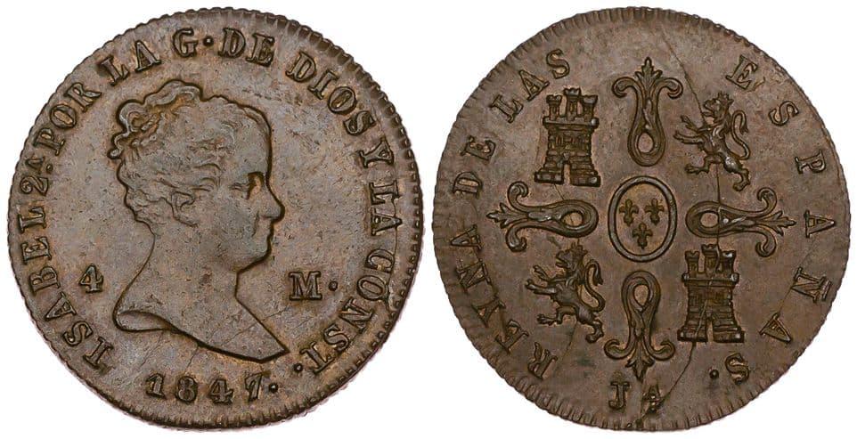 4 maravedís 1847 Jubia