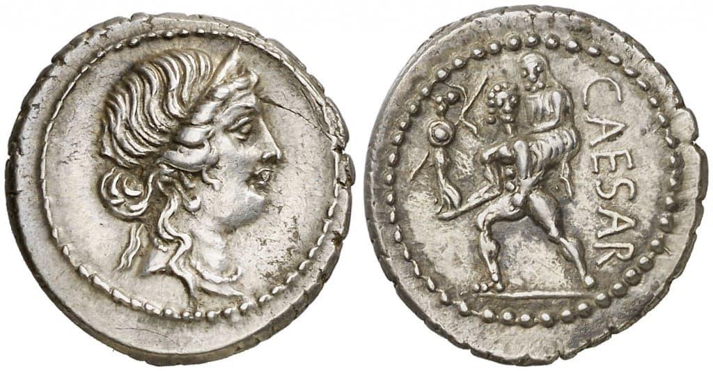 denario Julio César eneas llevando a Anquises