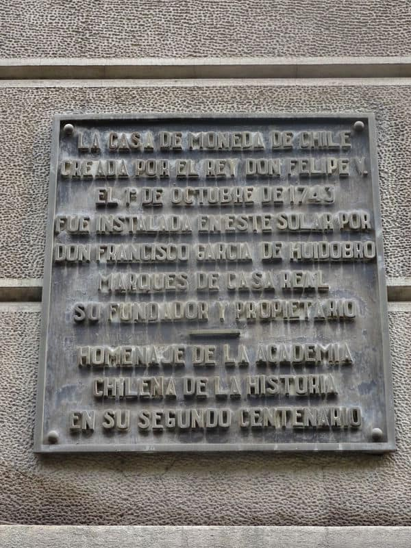 placa casa de la Moneda de Santiago de Chile