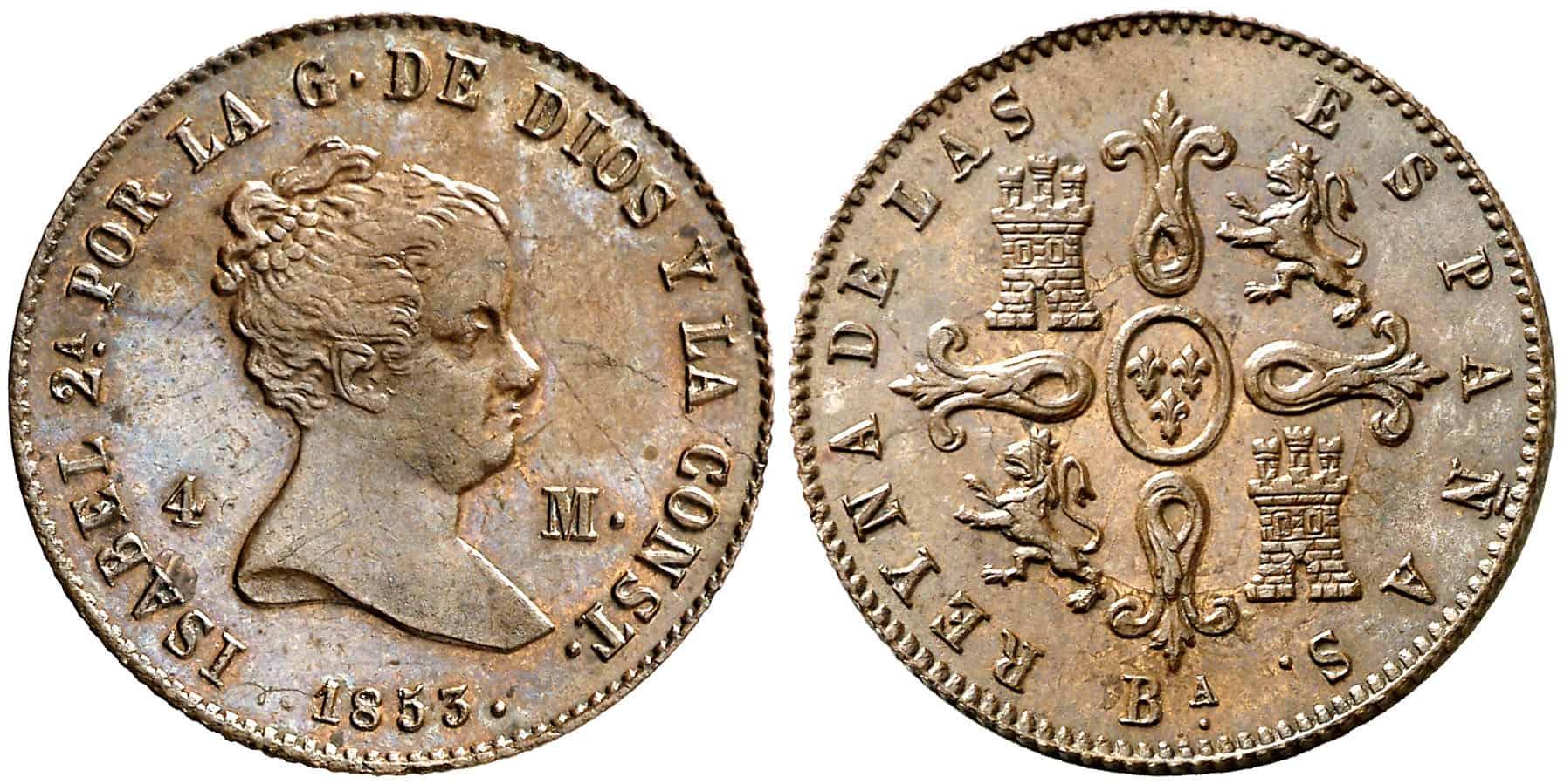 4 maravedís Barcelona 1853