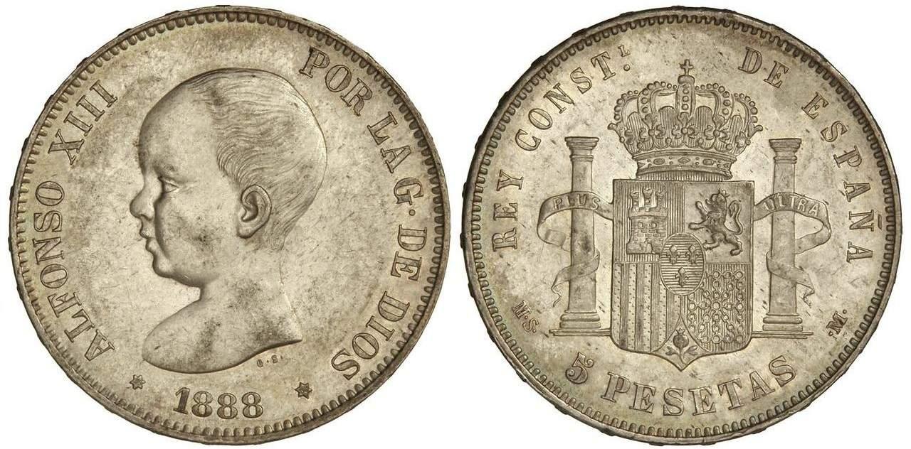 5 pesetas 1888 MSM