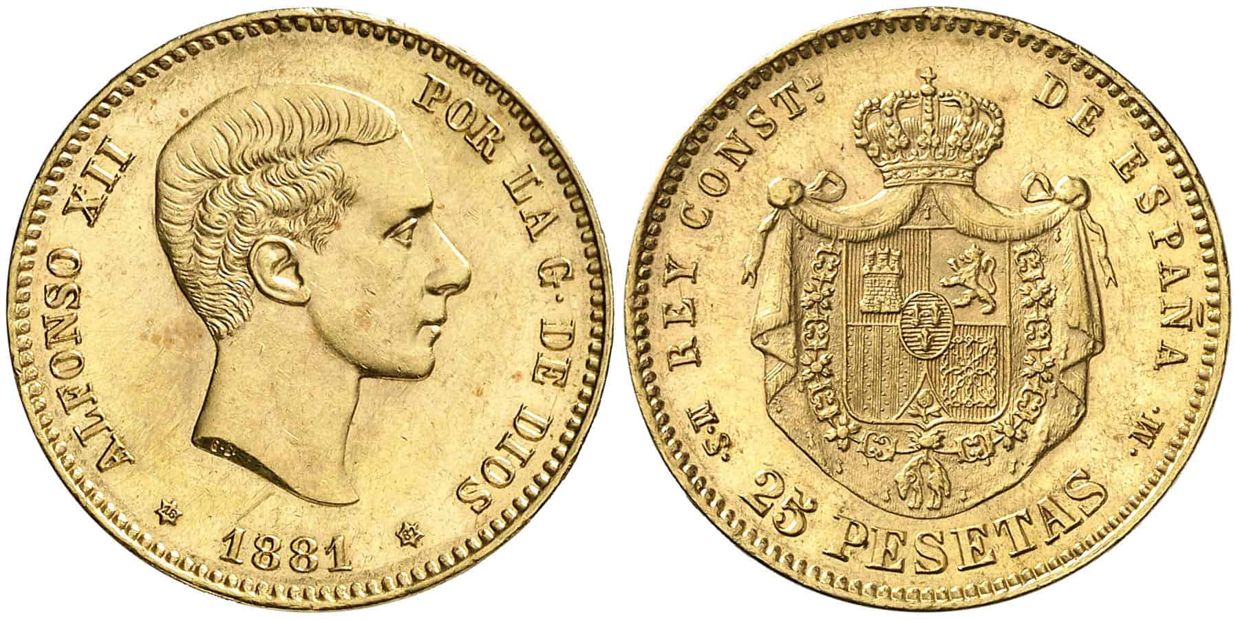 25 pesetas 1881 sin barba