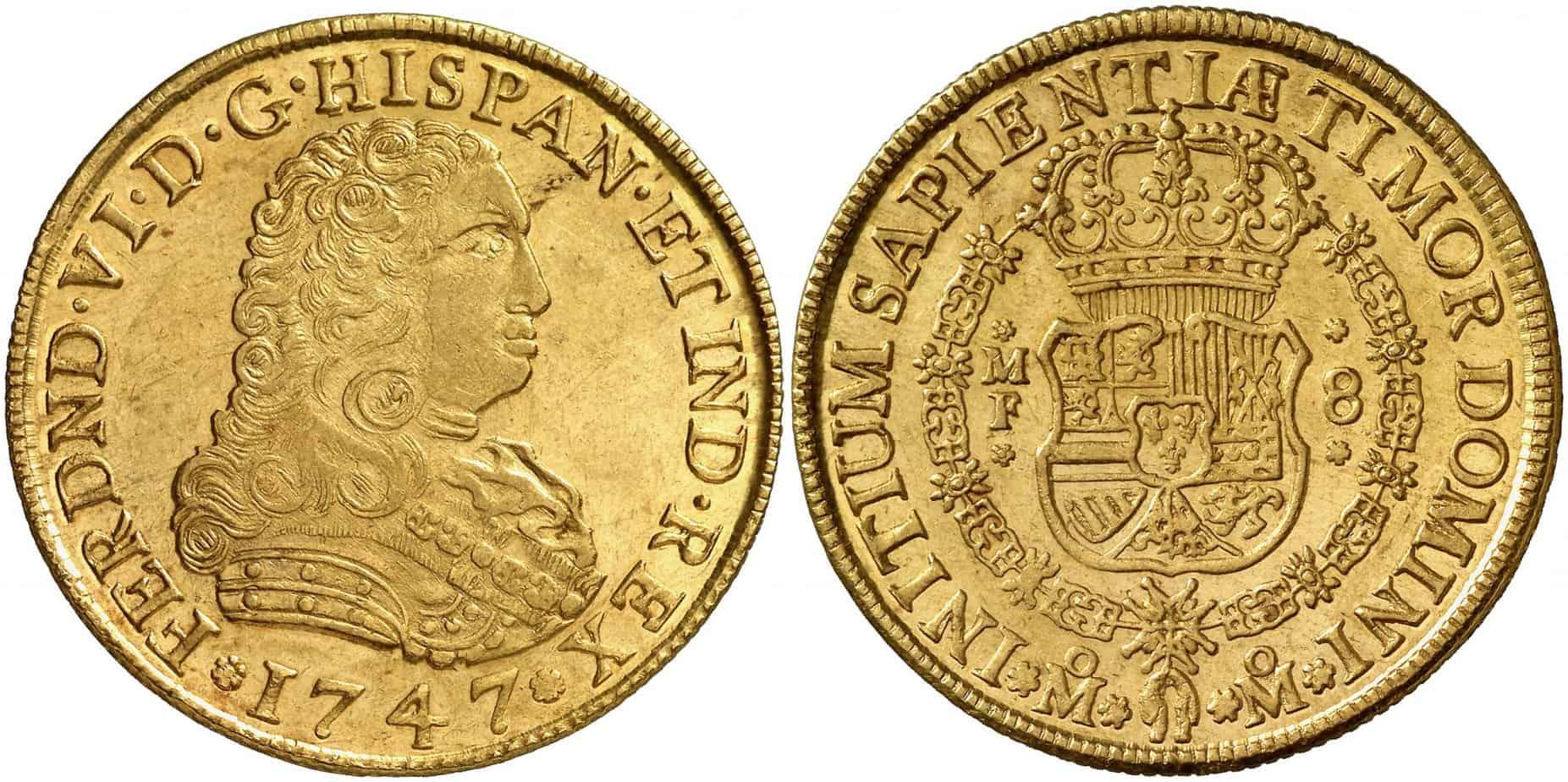 8 escudos 1747 cara de perro