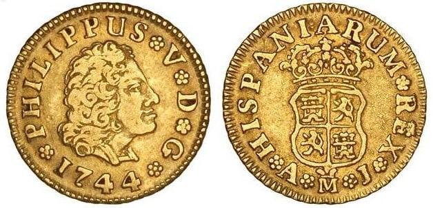 medio escudo Madrid 1744