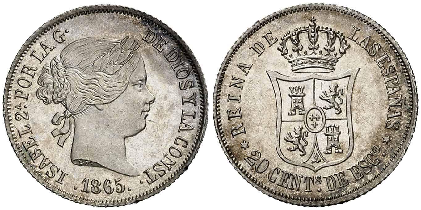 20 centavos de peso Madrid 1865