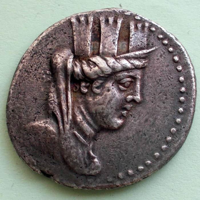 Moneda de plata.. Tetradracma (127-126 A.C). Cara A