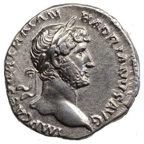 Moneda de plata. Denario Romano de Adriano. 117-138 D.C. Retrato de Adriano (Cara A)