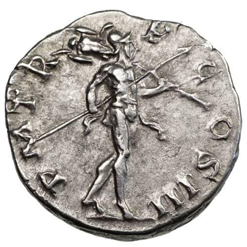 Moneda de plata. Denario Romano de Adriano. 117-138 D.C. Marte (Cara B)