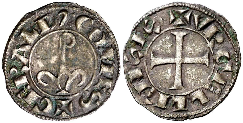 Guerau de Cabrera (1208-1209 1213-1228). Agramunt. Diner. 0,73 g. Leyenda anverso empieza a las 6h. Buen ejemplar. Rara y más así. MBC+.
