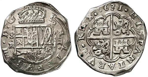 Macuquina de Sevilla E- (tipo II Felipe III, tipo único Felipe IV, tipo I Carlos II)