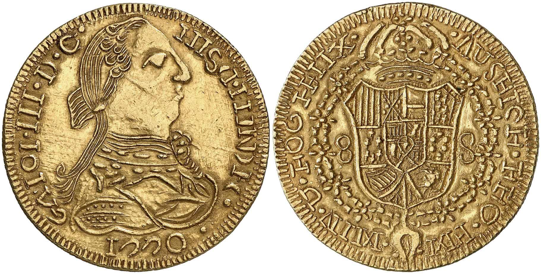 8 escudos México,1770 imitación indígena