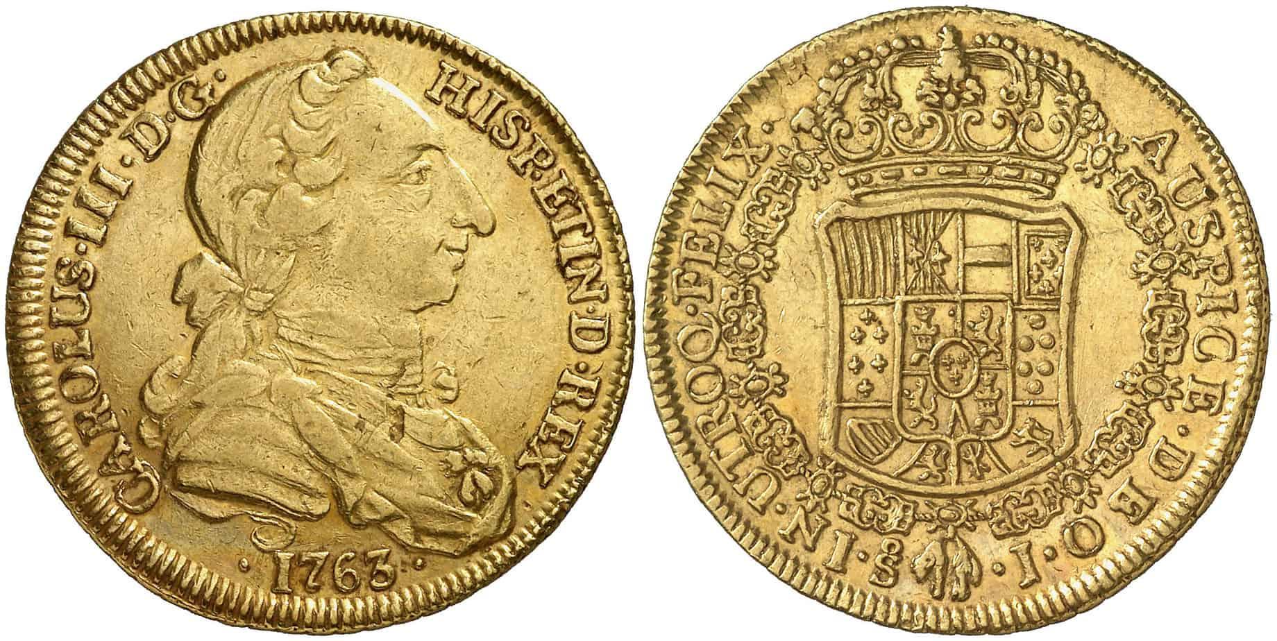 4 Escudos Santiago 1763