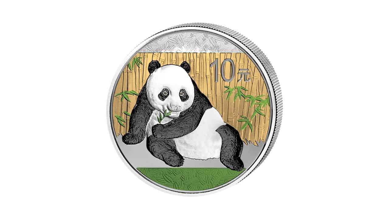 Bullion de plata coloreado panda