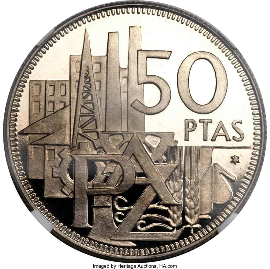 50 pesetas de 1957 conmemorativa de los 25 años de Paz