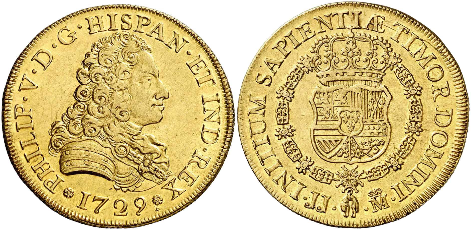 8 escudos de Madrid de 1729. Subastado por Áureo & Calicó en marzo de 2015.