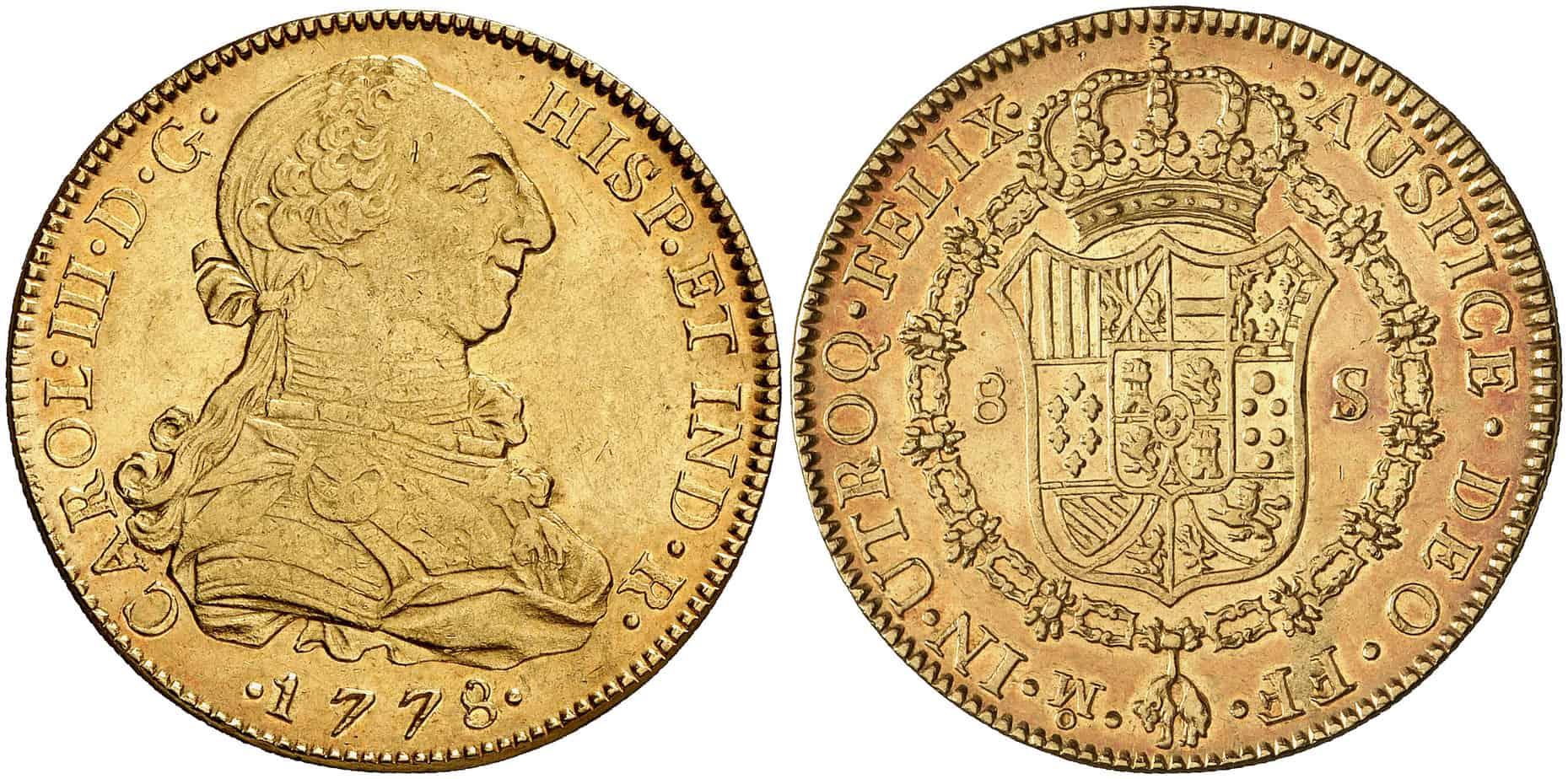 8 escudos de México de 1778. Subastado por Áureo & Calicó en abril de 2008.