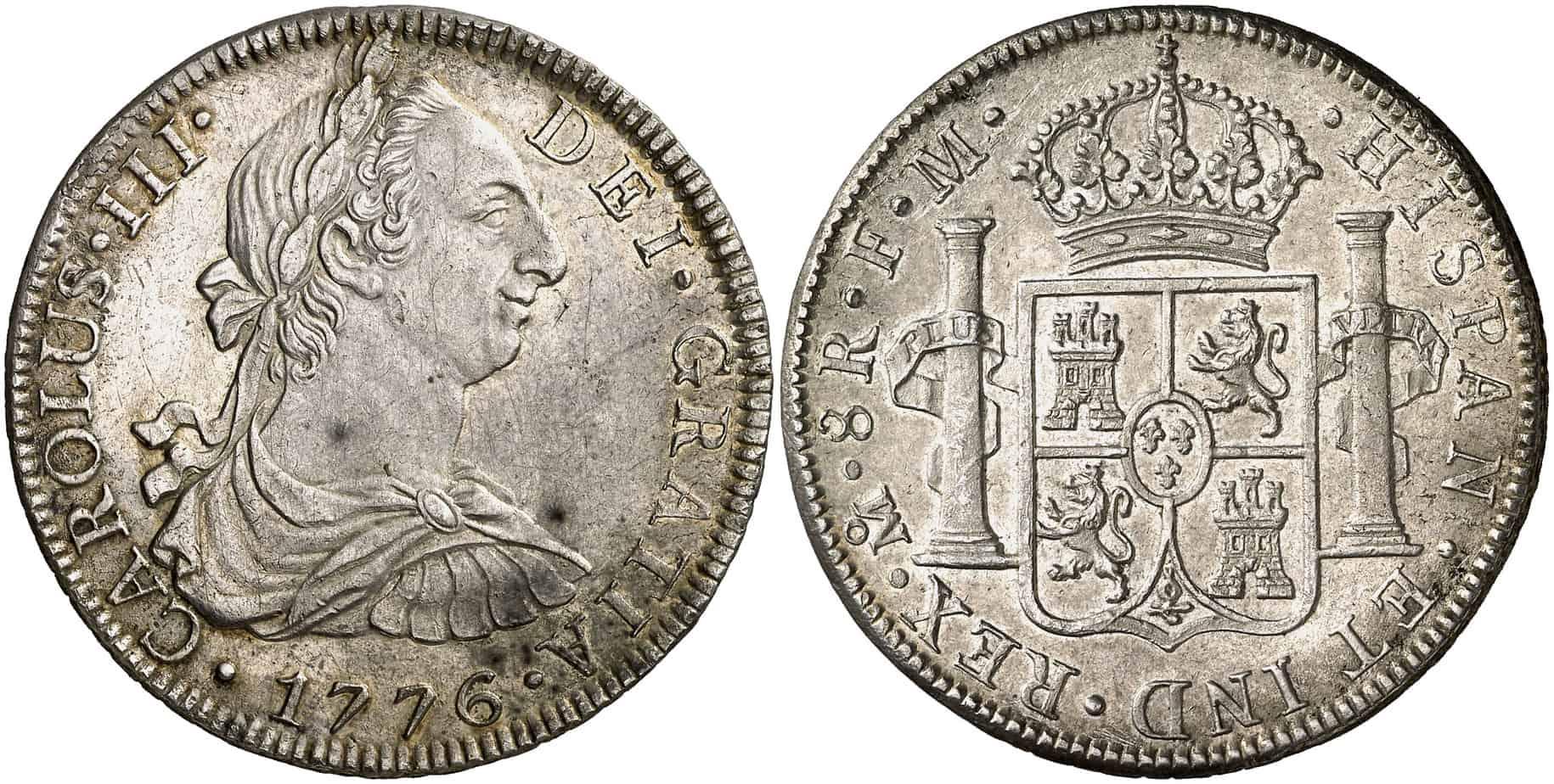 8 reales de México de 1776. Subastado por Áureo & Calicó en julio de 2008.