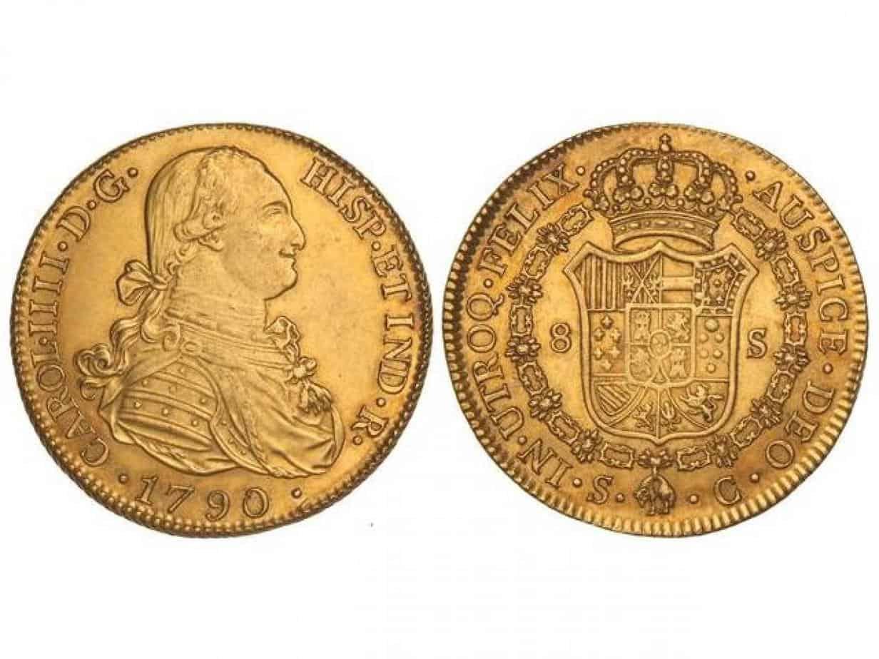 8 Escudos, Carlos IV. 1790. Sevilla.