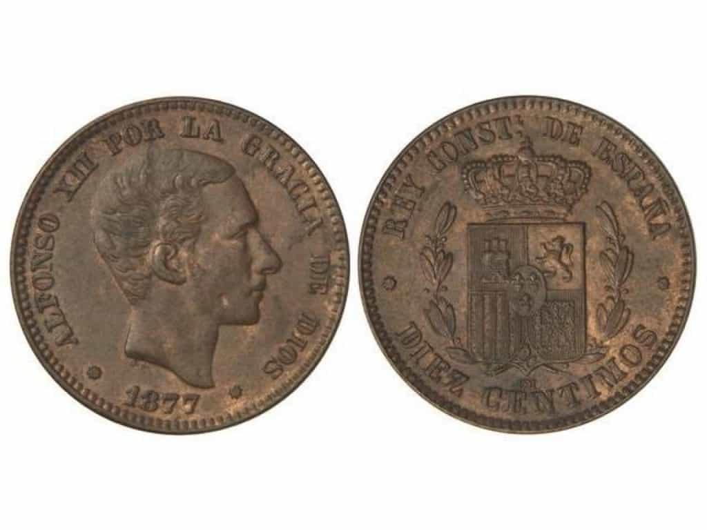 Alfonso XII. 10 Céntimos. 1877. Barcelona.
