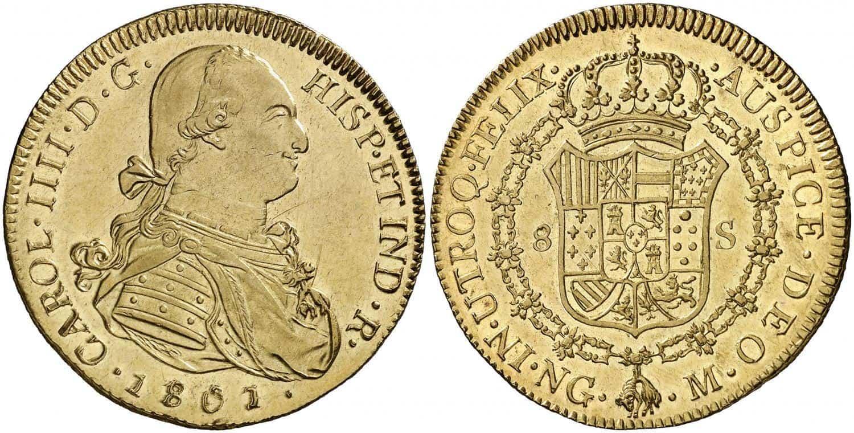 8 escudos. Carlos IV. 1801. Guatemala.