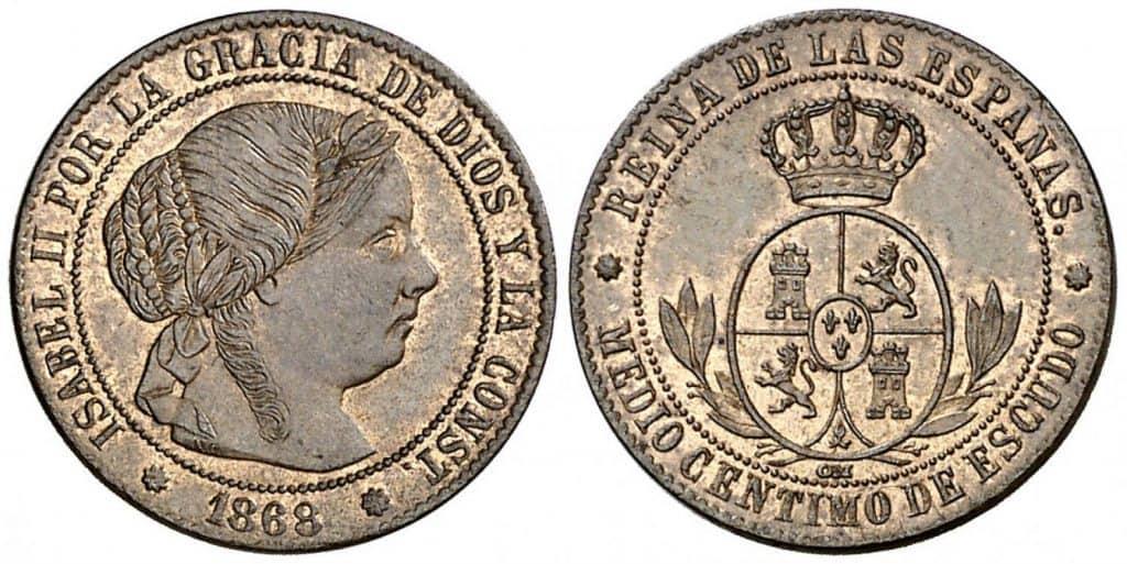 1/2 céntimo de escudo. Isabel II. Barcelona. 1868.