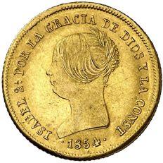 España-Isabel-II.-100-reales-de-oro.-Sevilla.-1854.-Escasa.
