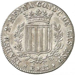 España. Isabel II. 1 peseta. 1836. Barcelona. PS. 5,81 g. Canto estriado. Plata. Rara. EBC.