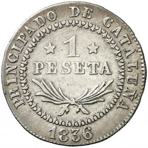 1 peseta. Isabel II. España. 1836.