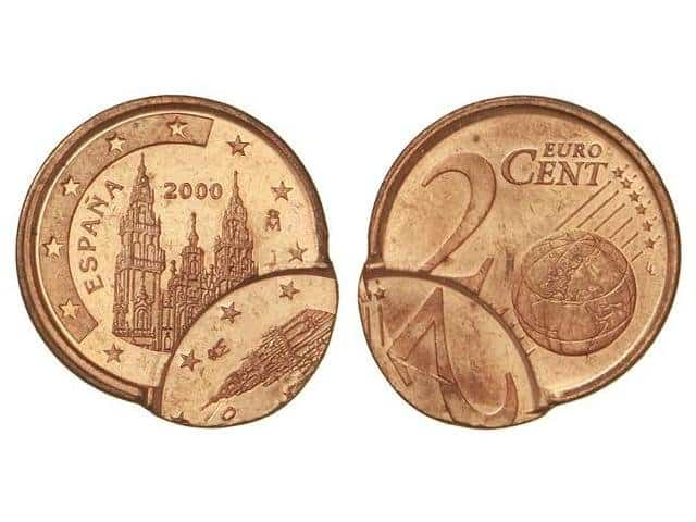 2 céntimos de 2000 con doble acuñación desplazada