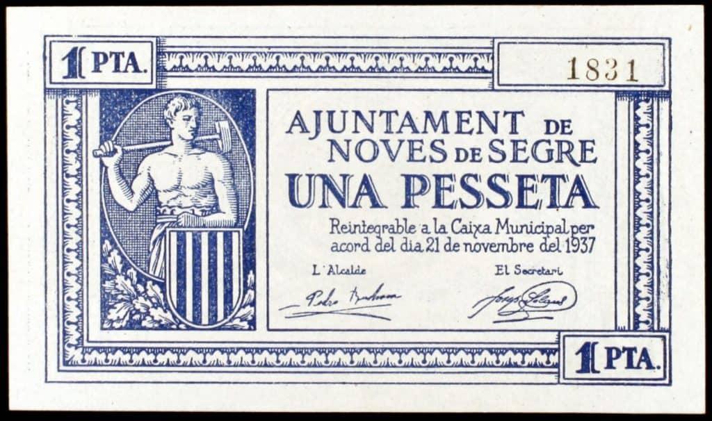 Noves de Segre. 10, 25, 50 céntimos y 1 peseta.