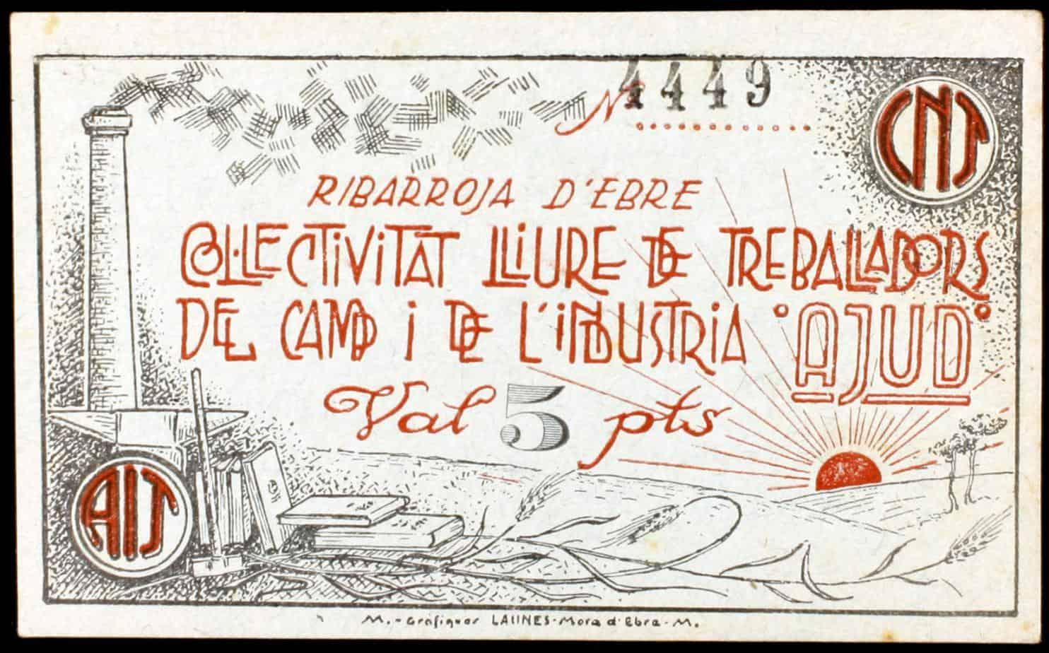 Riba-Roja d'Ebre. Col·lectivitat Lliure de Treballadors del Camp i de l'Industria. C.N.T. 5 y 25 pesetas.