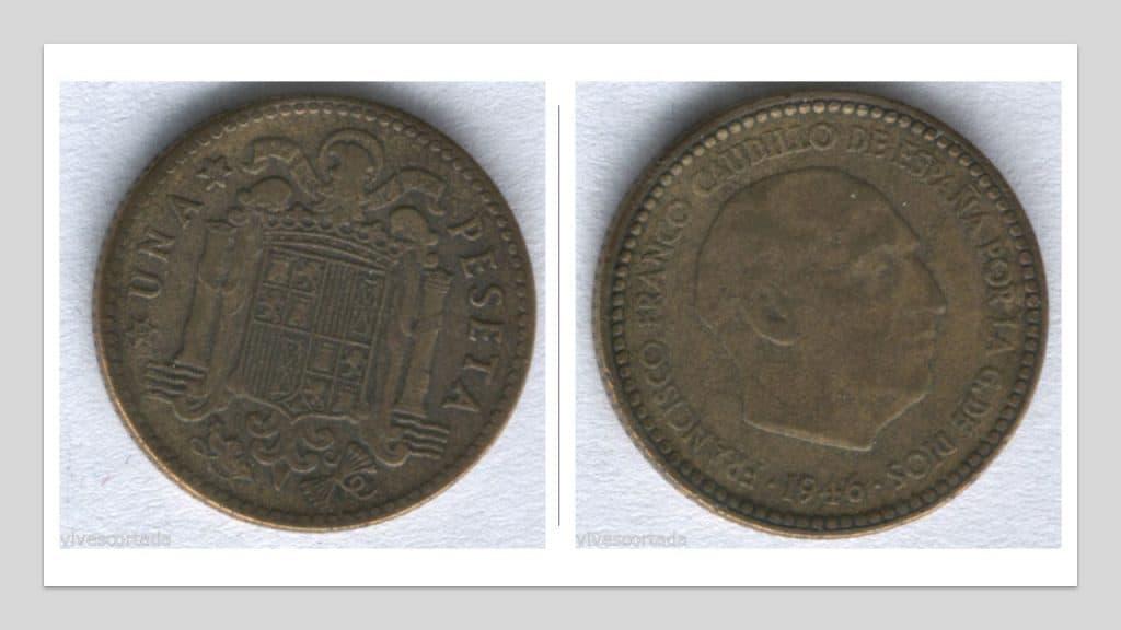1 Peseta, Francisco Franco, España, 1946