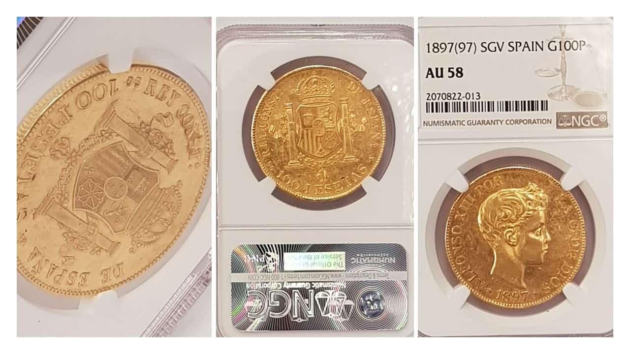 100 pesetas, Alfonso XIII , España, 1897