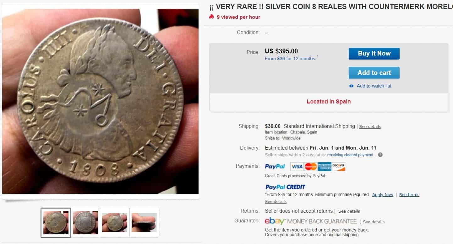 Anuncio moneda falsa eBay