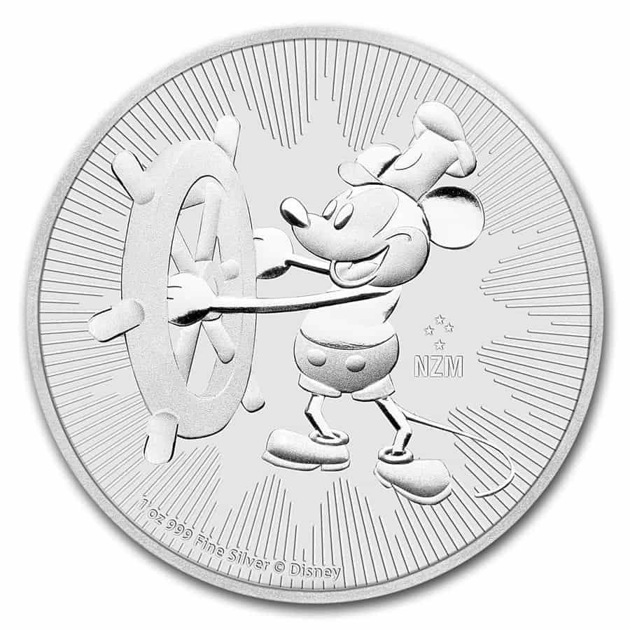 Moneda plata Niue Disney, Steamboat Willie, 2017