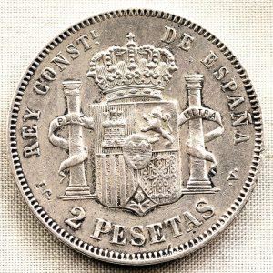 2 Peseta, Alfonso XIII, 1894, España. Reverso