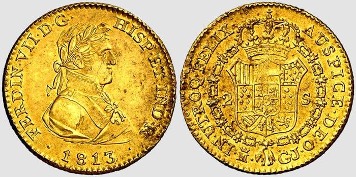 2 escudos, Fernando VII, 1813, Madrid-España