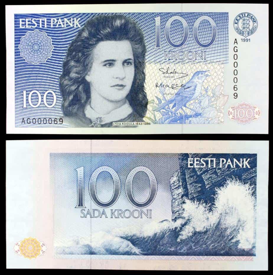 100 Coronas 1991, Estonia. Lydia Koidula