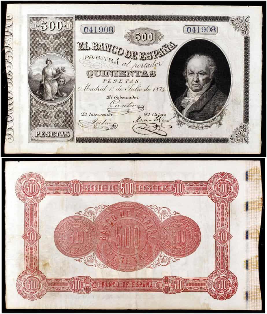 500 pesetas 1874 Goya