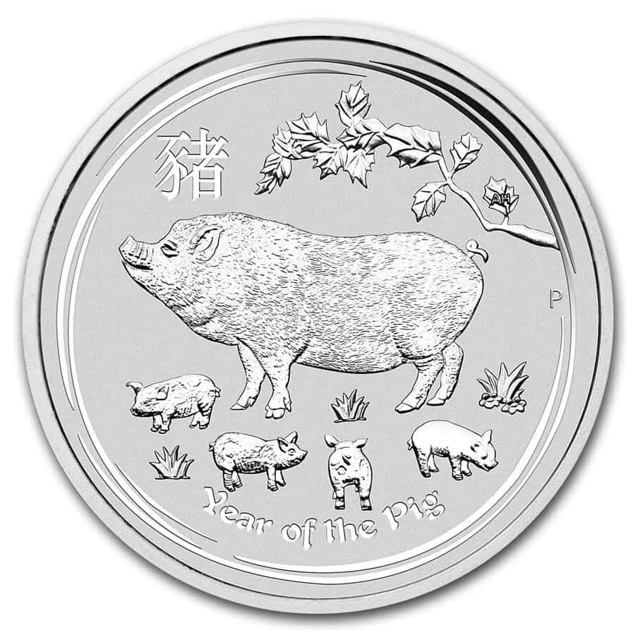 Moneda de plata, año del cerdo. 2019
