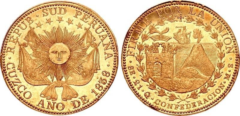 8 escudos Cuzco 1838