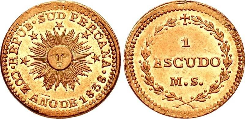 1 escudo Cuzco 1838