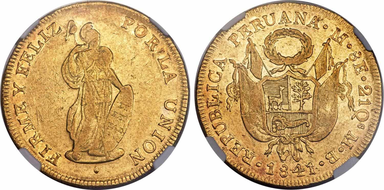 8 escudos Cuzco 1841
