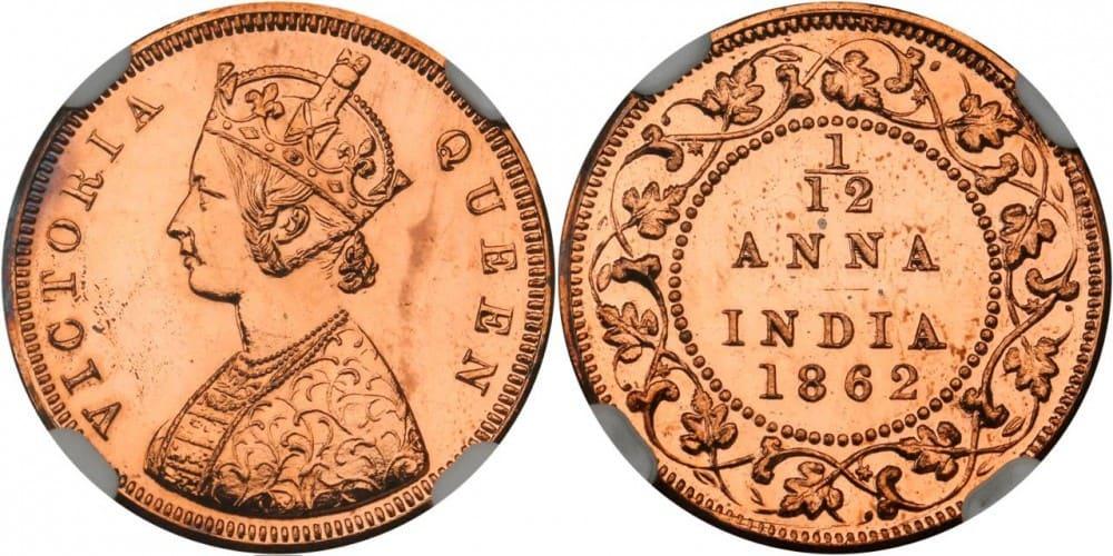 1/12 de Anna, India 1862