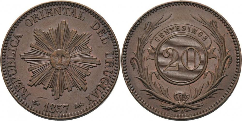 20 centavos (vintem), Uruguay 1857