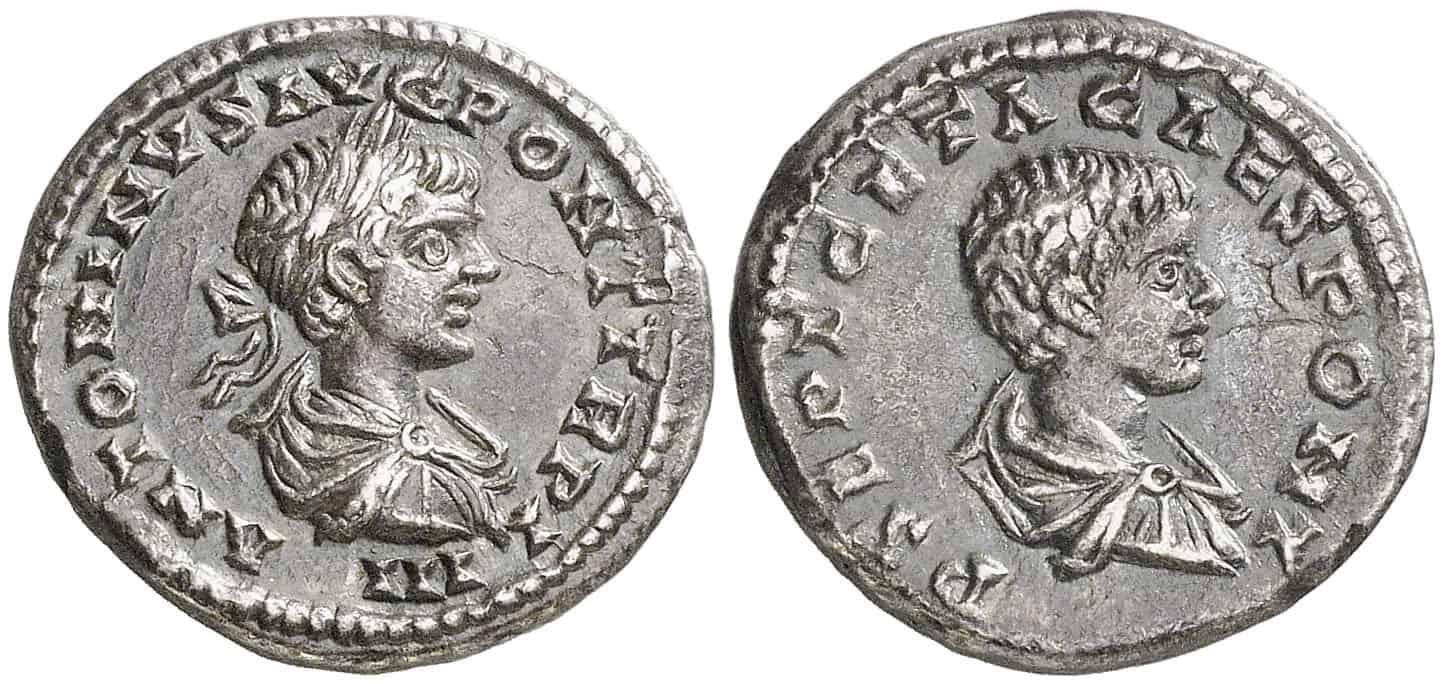 Moneda ambos emperadores Severos