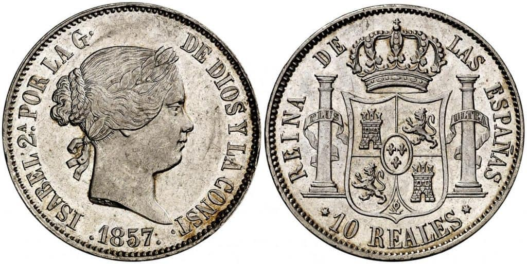 10 reales madrileños de 1857